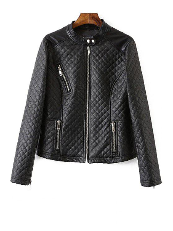 outfit Stand Neck Checked Faux Leather Jacket - BLACK S
