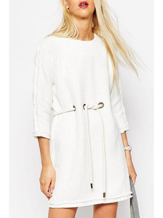 affordable Drawstring Design White Dress - WHITE S