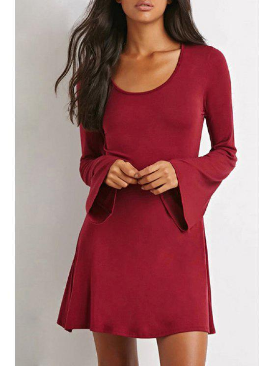 sale Scoop Neck Solid Color Bell Sleeve Dress - WINE RED S