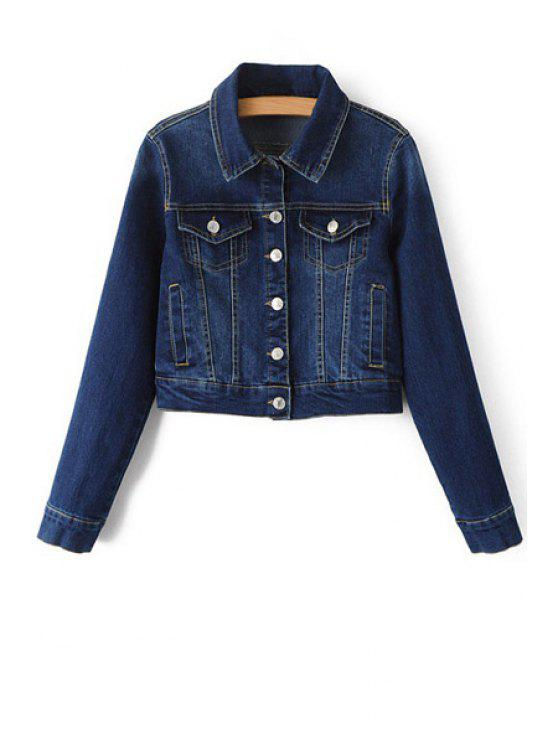 latest Blue Denim Turn Down Collar Deep Jacket - DEEP BLUE L