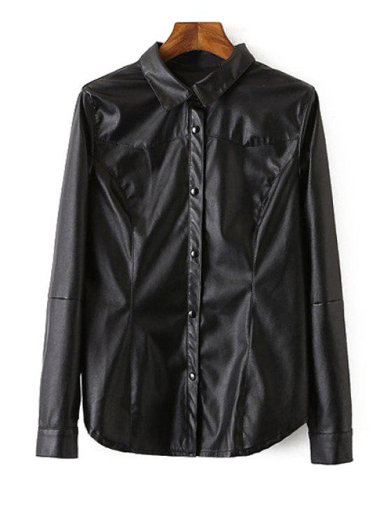 women's Long Sleeve Black PU Leather Shirt - BLACK L