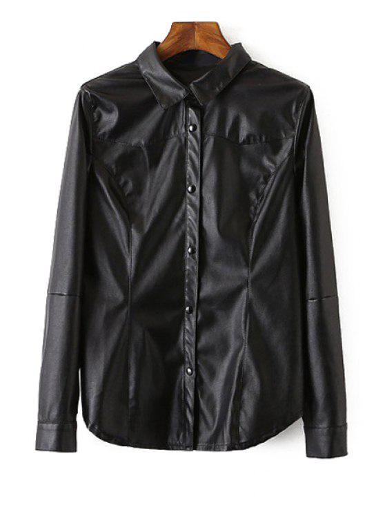 womens Long Sleeve Black PU Leather Shirt - BLACK S