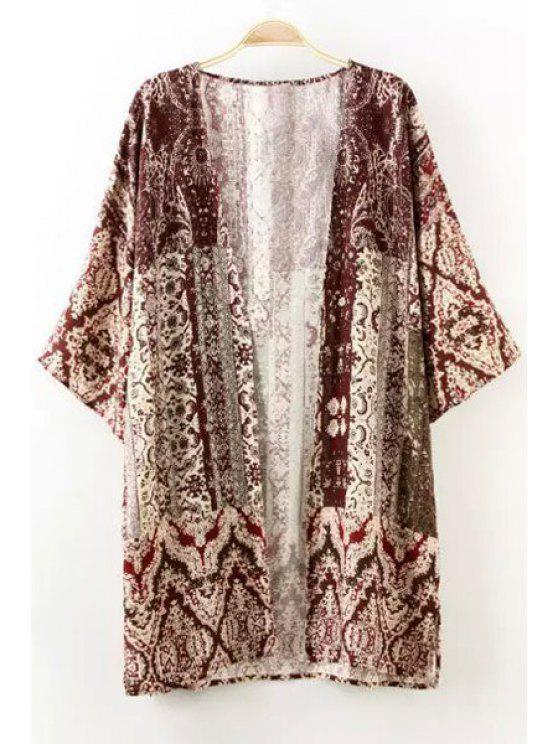 lady Retro Print 3/4 Sleeve Kimono - AS THE PICTURE S