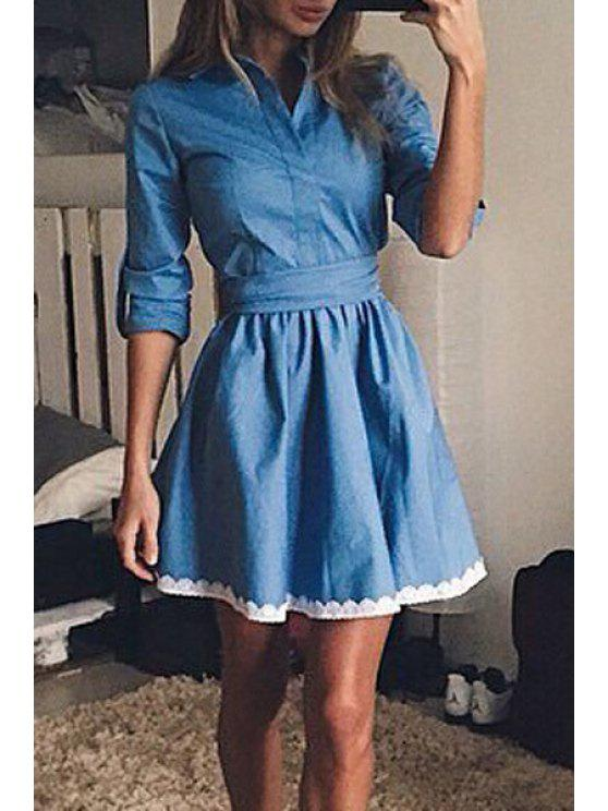 online Fit and Flare White Hem Denim Dress - BLUE S