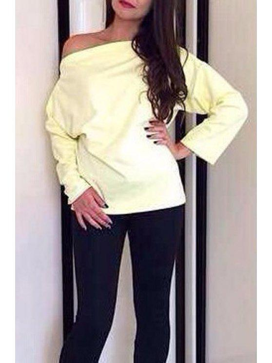 ladies Slash Neck Long Sleeve Blouse - YELLOW S