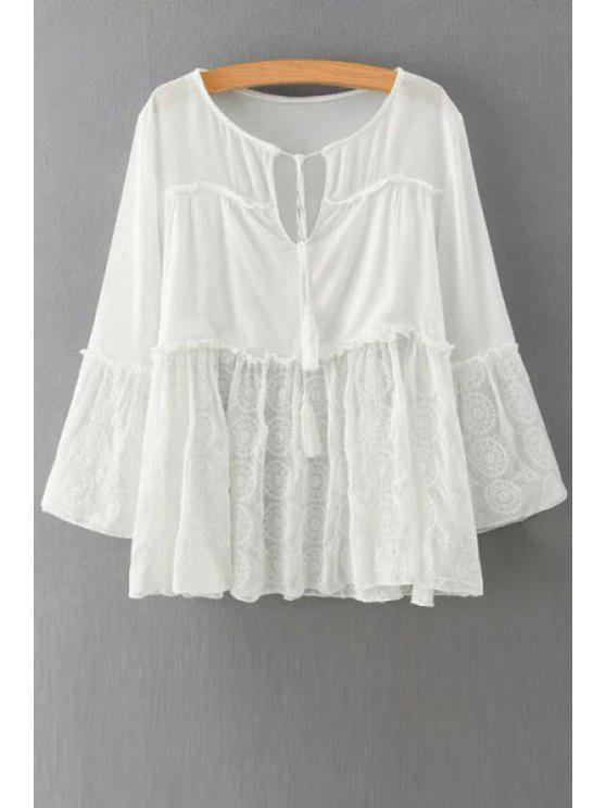 outfit White Embroidery Long Sleeve Blouse - WHITE S