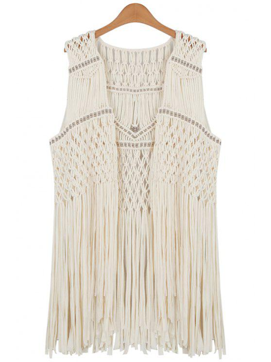 women's Solid Color Hollow-Out Loose-Fitting Crocheted Waistcoat - APRICOT ONE SIZE(FIT SIZE XS TO M)