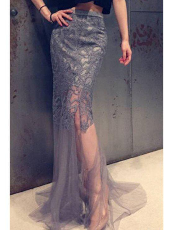 hot Embroidered Voile Long Fishtail Skirt - GRAY S