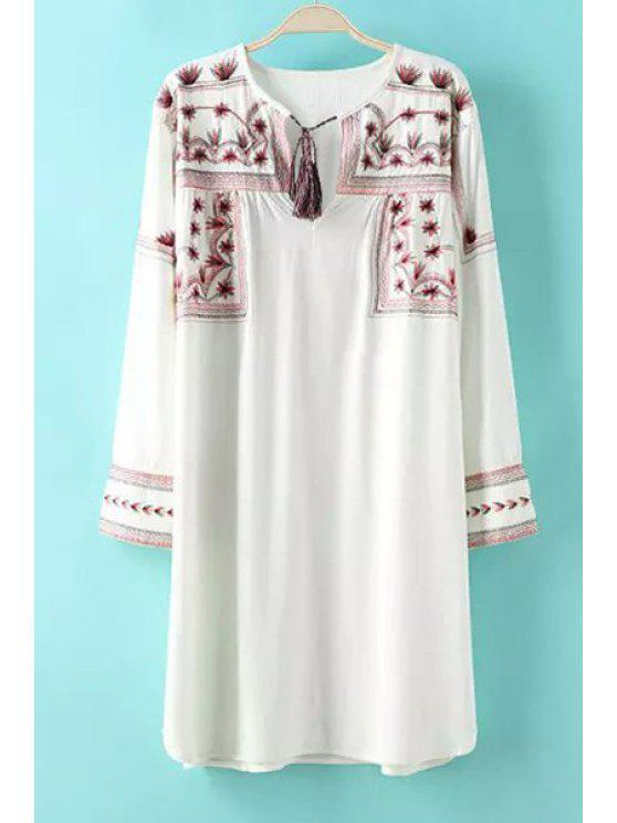 outfit Floral Embroidery Tie-Up Long Sleeve Dress - WHITE S