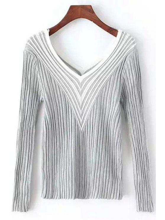 lady Stripes Spliced V Neck Long Sleeve Jumper - GRAY ONE SIZE(FIT SIZE XS TO M)