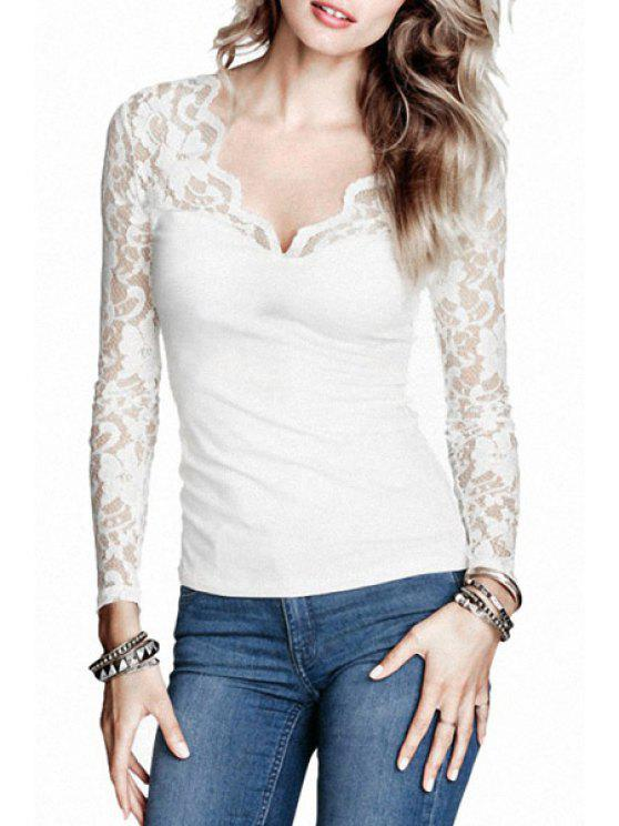 chic Long Sleeve Lace Patchwork T-Shirt - WHITE M