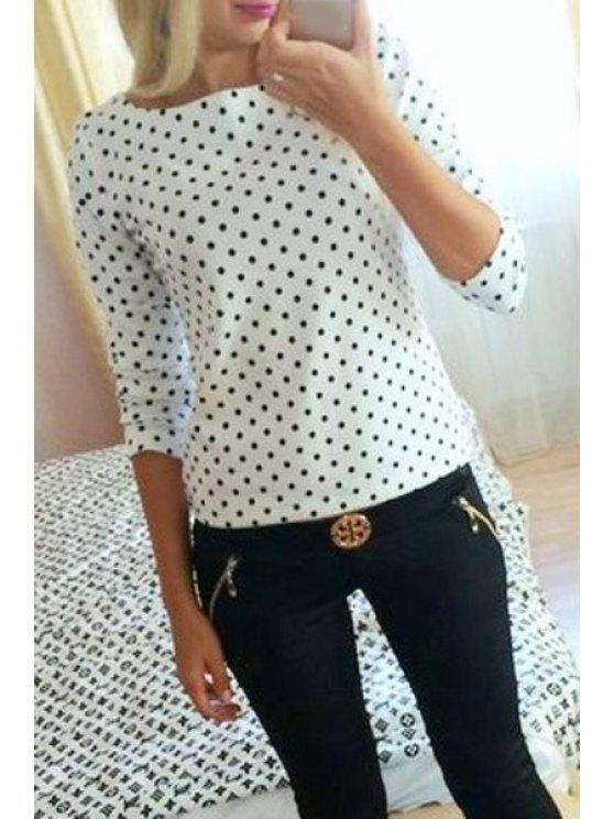 women Long Sleeve Polka Dot T-Shirt - WHITE S