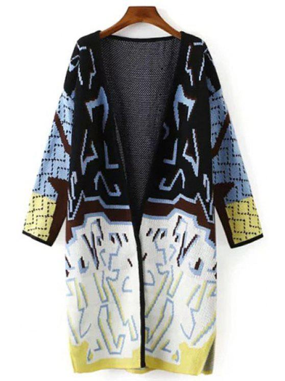 online Color Block Long Sleeve Maxi Cardigan - WHITE AND BLACK ONE SIZE(FIT SIZE XS TO M)