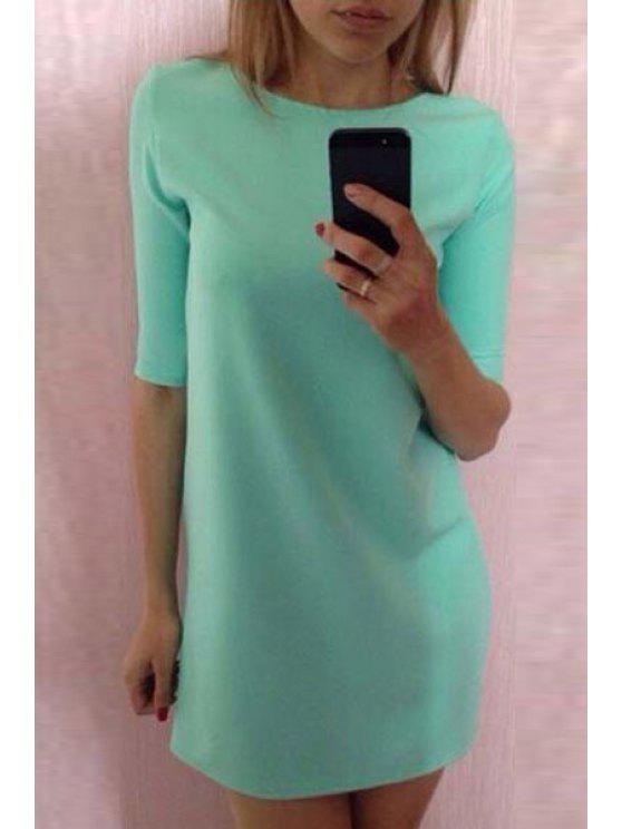 womens Half Sleeve Mint Green Dress - MINT GREEN S