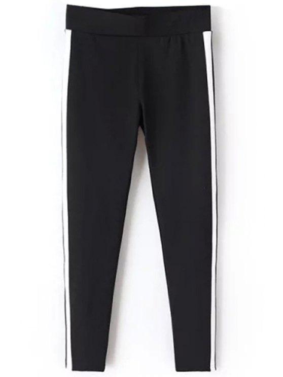 hot Faux Leather Spliced Narrow Feet Pants - BLACK S