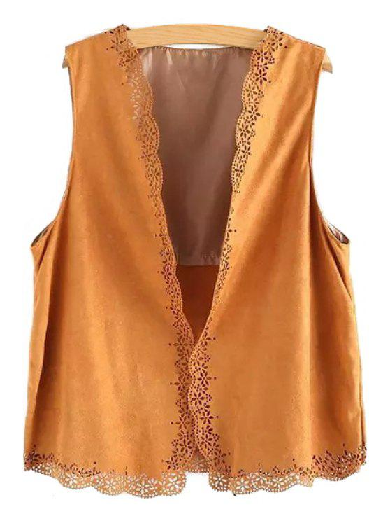 online Open Front Lace Hem Suede Waistcoat - CAMEL ONE SIZE(FIT SIZE XS TO M)