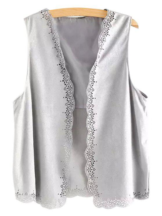 new Open Front Lace Hem Suede Waistcoat - GRAY ONE SIZE(FIT SIZE XS TO M)