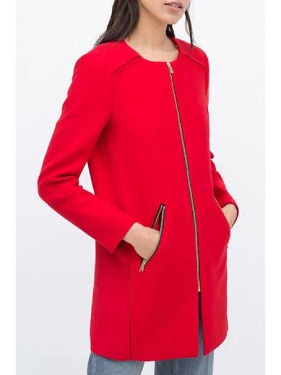 trendy Pure Color Round Neck Long Sleeve Woolen Coat - RED S