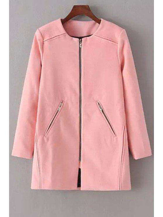 new Pure Color Round Neck Long Sleeve Woolen Coat - PINK L