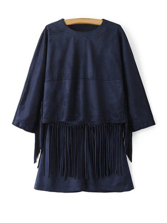 new Fringe Splicing Solid Color Long Sleeve Blouse - PURPLISH BLUE XS