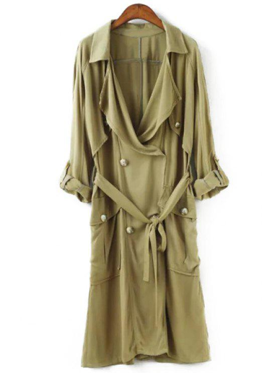 women's Big Pocket Self-Tie Belt Trench Coat - GREEN S