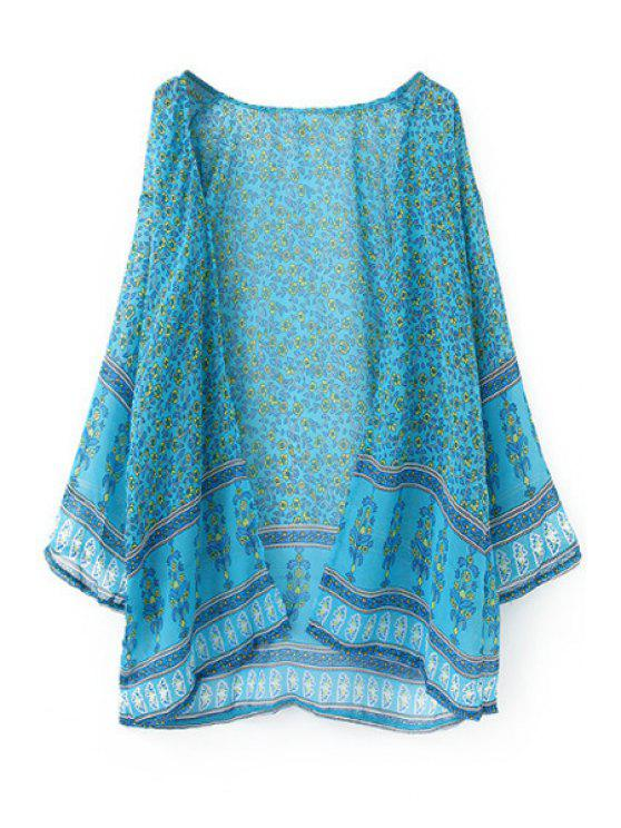 buy Tiny Floral Print Chiffon Long Sleeve Blouse - LAKE BLUE XL
