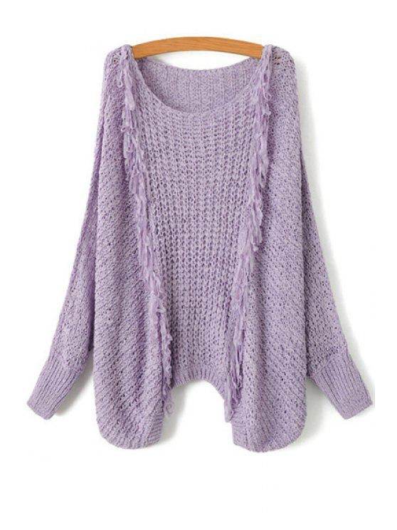 buy Tassel Splicing Openwork Long Sleeve Sweater - PURPLE ONE SIZE(FIT SIZE XS TO M)