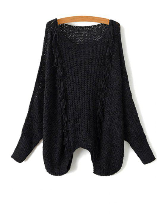 womens Tassel Splicing Openwork Long Sleeve Sweater - BLACK ONE SIZE(FIT SIZE XS TO M)