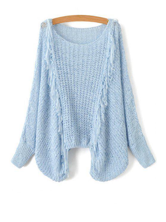 women Tassel Splicing Openwork Long Sleeve Sweater - LIGHT BLUE ONE SIZE(FIT SIZE XS TO M)