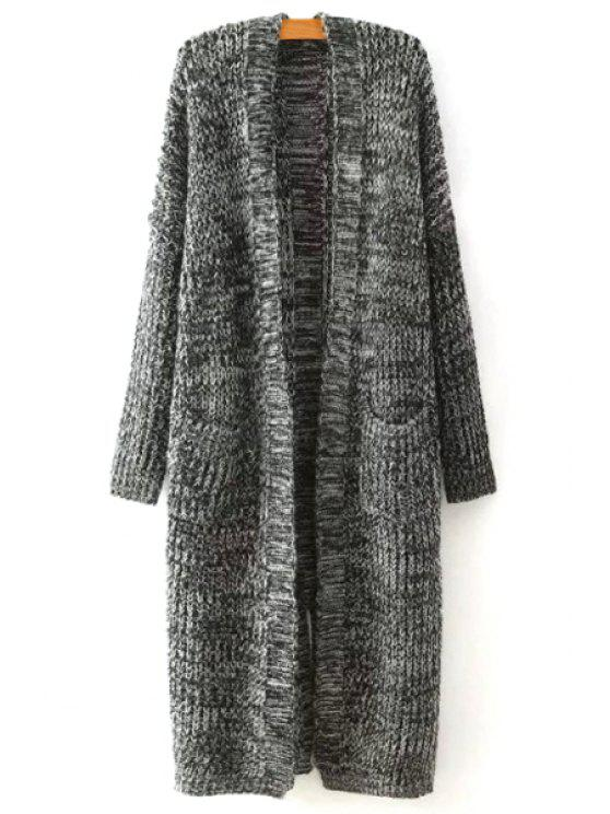 fancy Open Front Two Pockets Longline Cardigan - GRAY ONE SIZE(FIT SIZE XS TO M)