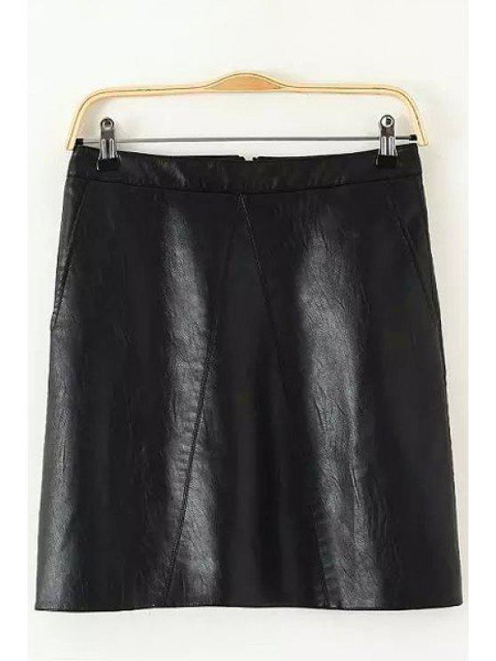 latest PU Leather Pocket Skirt - BLACK S