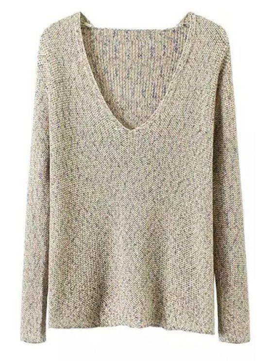buy V-Neck Mixed Color Sweater - GRAY L