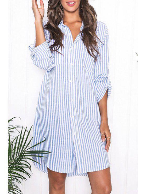 buy Blue Stripes Turn Down Collar Long Sleeve Shirt - AZURE L