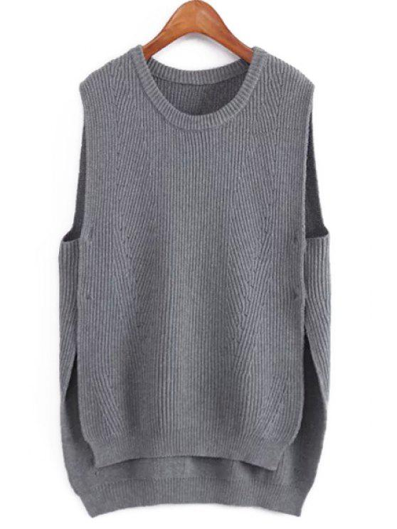 403a096038c4e0 lady Side Slit High Low Knitted Tank Top - GRAY ONE SIZE(FIT SIZE XS