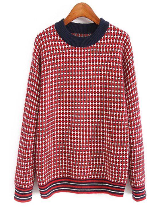Jersey de tela escocesa con cuello redondo - Rojo M