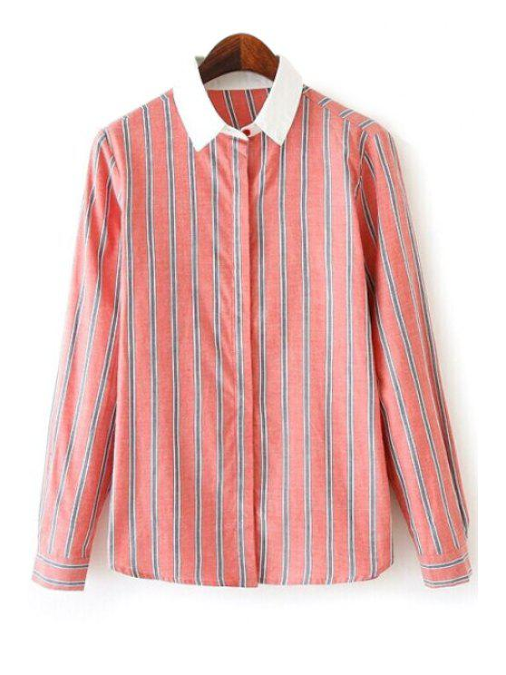 women Stripes Color Block Long Sleeve Shirt - ORANGEPINK S