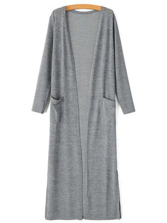 shops Collarless Pocket Side Slit Long Sleeve Cardigan - GRAY M