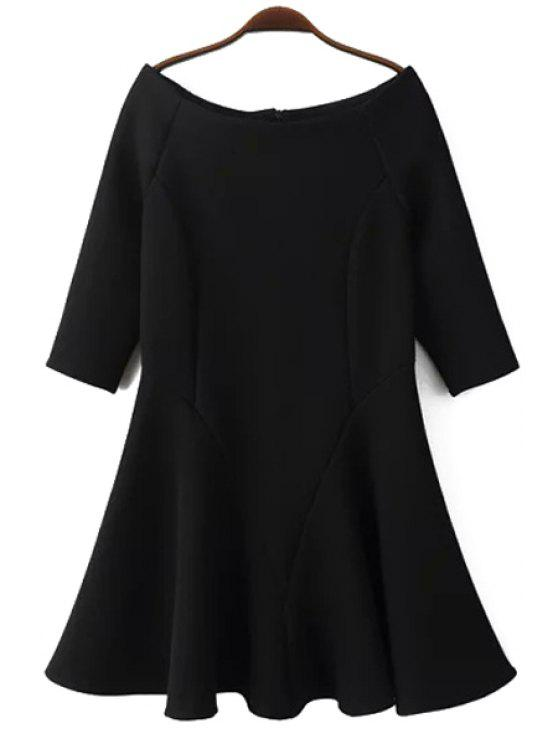 best Slash Neck Fit and Flare Dress - BLACK L