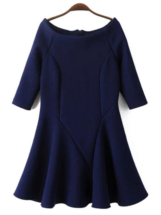 hot Slash Neck Fit and Flare Dress - CADETBLUE L