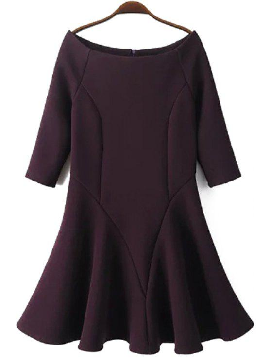chic Slash Neck Fit and Flare Dress - PURPLISH RED M
