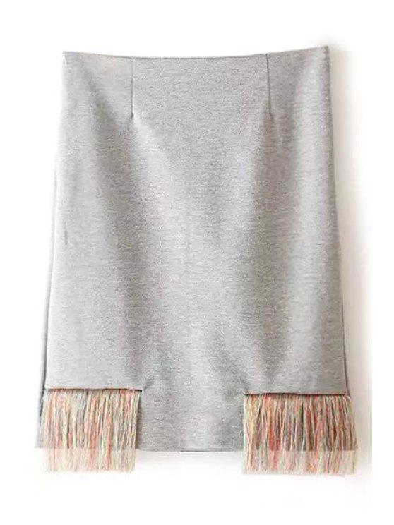 unique Fringe Splicing Zipper Fly Skirt - LIGHT GRAY XS