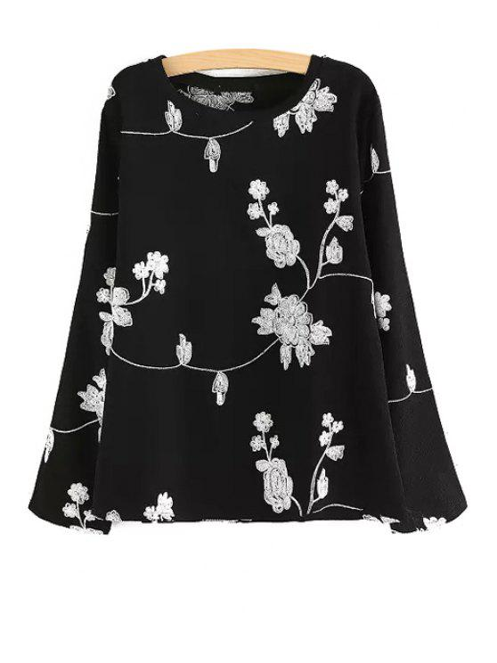 outfit Long Sleeve Flower Print T-Shirt - BLACK M