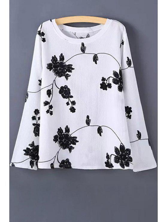 T-shirt de manga longa com flor de manga - Branco M