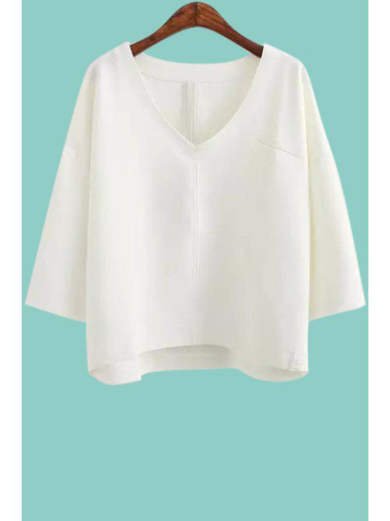 trendy V-Neck Solid Color 3/4 Sleeve T-Shirt - WHITE ONE SIZE(FIT SIZE XS TO M)