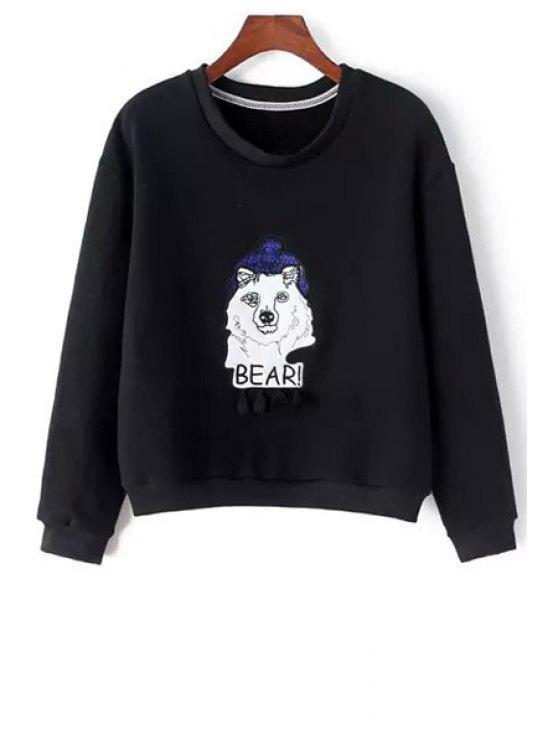 fashion Cartoon Applique Long Sleeve Sweatshirt - BLACK S