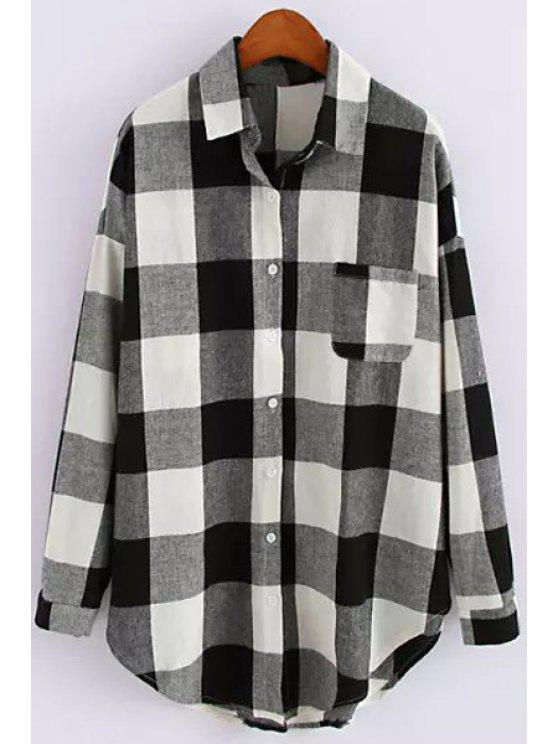 outfit White Black Plaid Long Sleeve Shirt - WHITE AND BLACK L