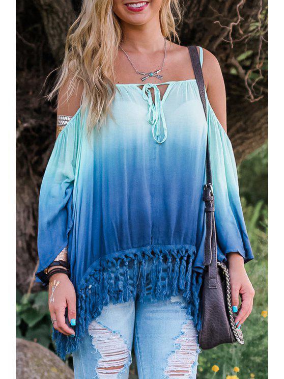 shop Long Sleeve Ombre Color Loose Blouse - BLUE S