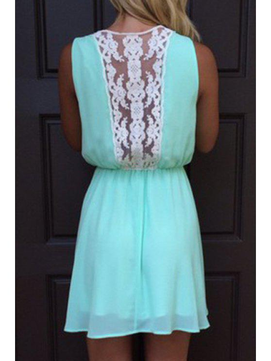 shops Sleeveless Lace Spliced Chiffon Dress - LAKE BLUE S
