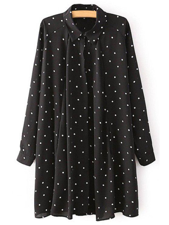 lady Turn-Down Collar White Polka Dot Dress - BLACK M