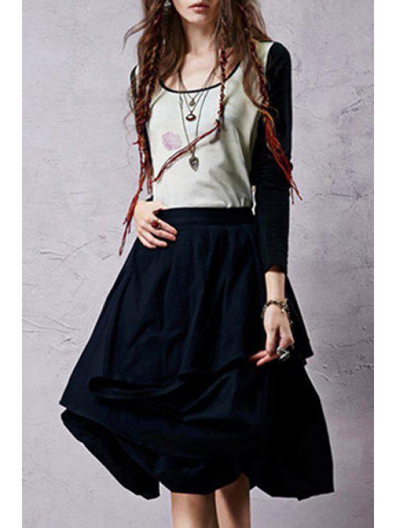 women's Drawstring Asymmetric Midi Skirt - DEEP BLUE S